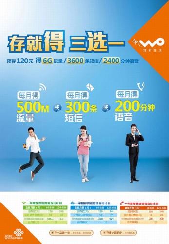 中国聯通「沃3G」年間契約の割引内容(中国聯通HPより引用)