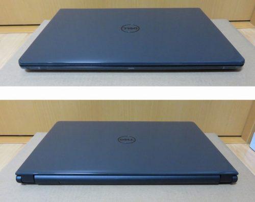 ノートパソコン本体の前面(上)と背面(下)