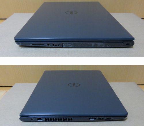 ノートパソコン本体の右側面(上)と左側面(下)