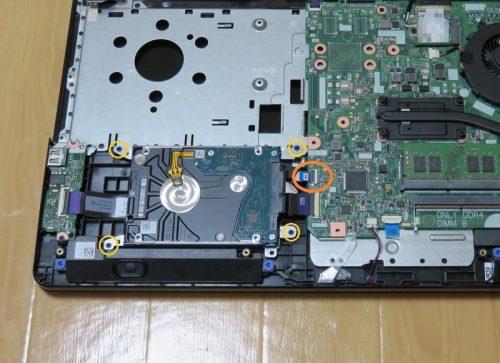 HDDをパソコン本体から取り外す