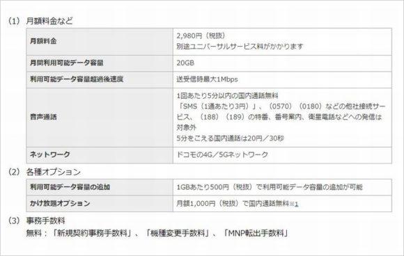 ドコモ新プラン「ahamo」報道発表資料 月額料金の抜粋